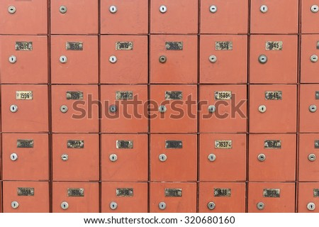 Row of the post office boxes in red color.