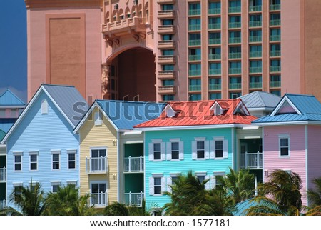 row of townhouses against atlantis resort in nassau, the bahamas