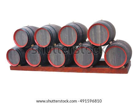 row of traditional old wooden wine barrels with red circle isolated over white background
