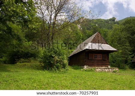 Row of Traditional Slovakian Timber Houses with Wooden Roof.