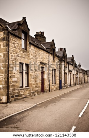 Row of traditional stone houses in a scottish village
