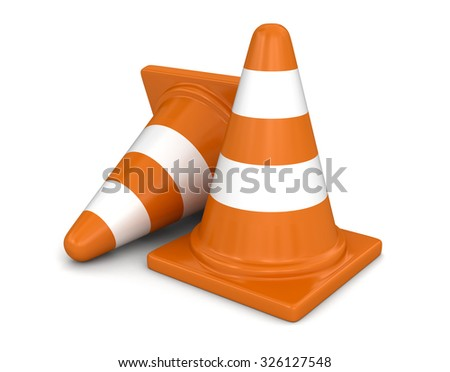 Row of traffic cones. Image with clipping path