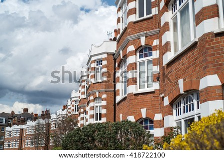 Row of Typical English Terraced Houses - stock photo
