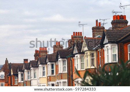 Row of Typical modern Britain Terraced Houses in England UK in spring season.