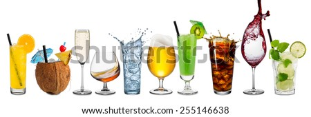 Row of various drinks on white background - stock photo