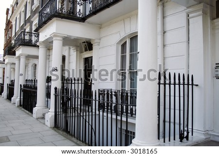 row of victorian houses - stock photo