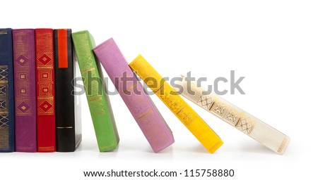 Row of vintage books isolated on white background, free copy space - stock photo