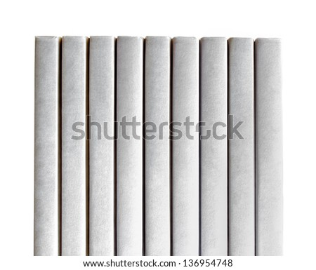 Row of White Books with White Background - stock photo