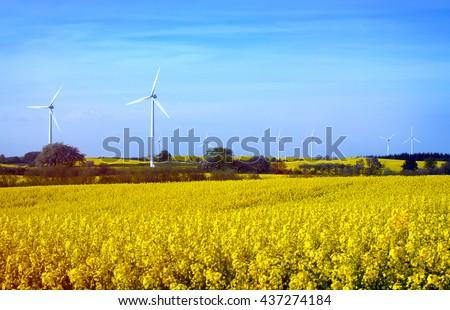 Row of wind turbines in Sweden - stock photo