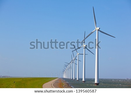 Row of Wind turbines in the ocean with a clear blue sky