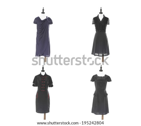 Row of Women sundress on four dummy - - stock photo