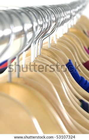 Row of wood coat hanger background - stock photo