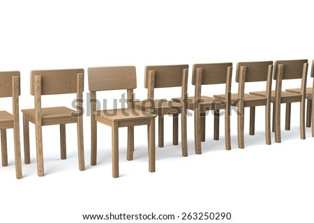 Row of wooden chairs on white background, one chair facing viewer, all other chairs turning their backs, non conformist, 3d rendering - stock photo