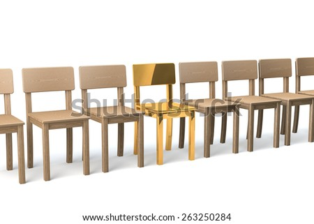Row of wooden chairs on white background, one golden chair in the middle, 3d rendering - stock photo