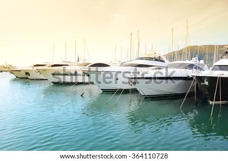 Row of yachts in the port of La Spezia, Italy - stock photo