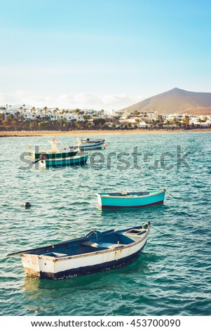 Rowboats in Lanzarote, Canary Islands (Spain) - stock photo