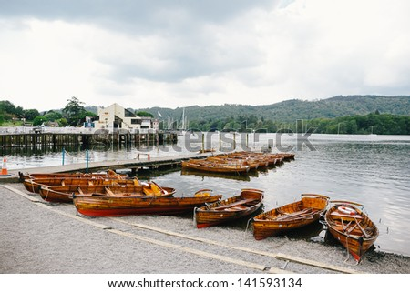 Rowing boats on Lake Windermere, Lake District, UK - stock photo