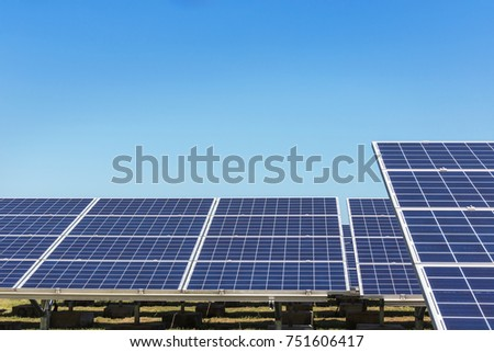 rows of array polycrystalline silicon solar cells in solar power plant turn up skyward absorb the sunlight from the sun use light energy to generate electricity alternative renewable energy