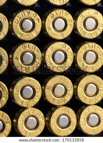 Rows of 45 caliber ammunition bullets - stock photo