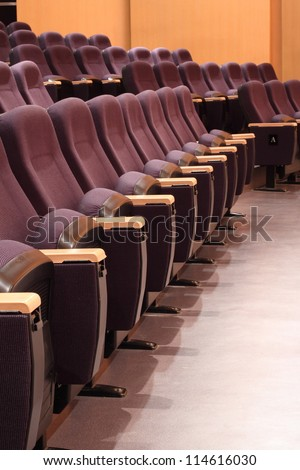 Rows Of Chairs In Auditorium - stock photo