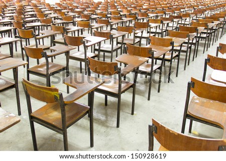 Rows of chairs in the big  classroom