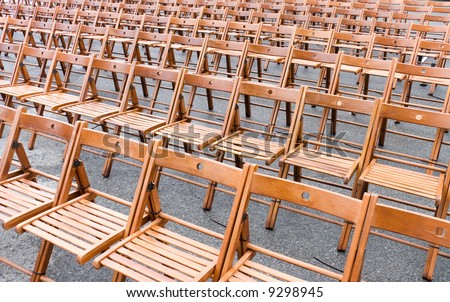 Rows of chairs. Wide angle view. - stock photo