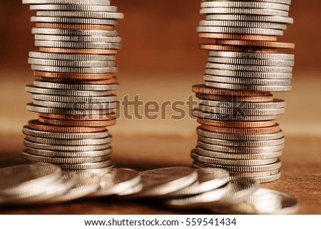 Rows of coins and account for finance and banking concept, Money coin stack growing business