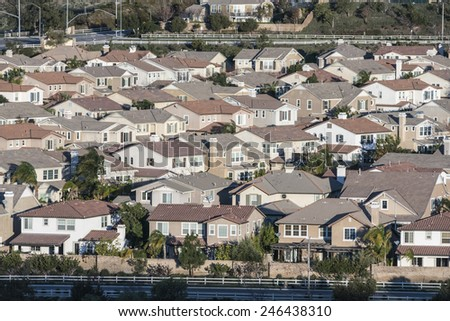 Rows of contemporary middle class homes near Los Angeles, California.   - stock photo