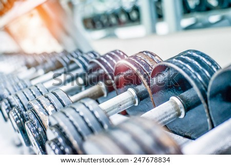 Rows Of Dumbbells - stock photo