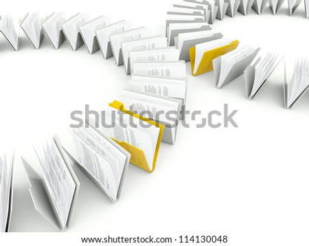 Rows of folders with files isolated on white