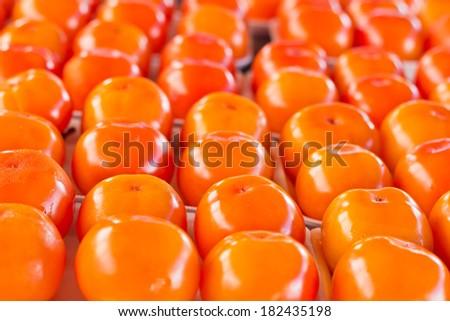Rows of fresh ripe persimmon for sale in a brazilian street market - stock photo