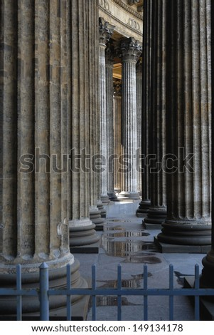 Rows of fretted columns of old Christian cathedral