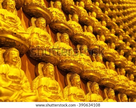 Rows Of Golden Buddha Statues At Barom Racha Kajanapisek Anusorn Temple (Wat Leng Nei Yi 2), Nonthaburi Province, Thailand         - stock photo