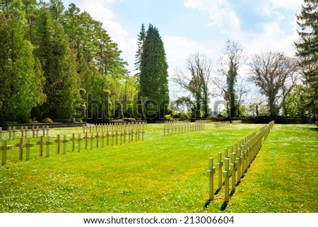 Rows of graveyard crosses in Dinant - stock photo