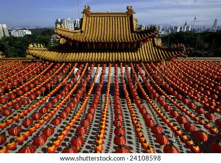 Rows of lantern at a chinese temple in Kuala Lumpur, Malaysia - stock photo