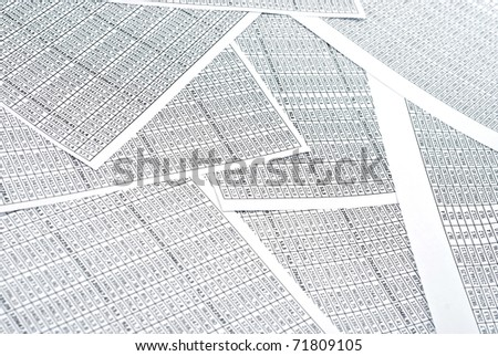 Rows of numbers on a spreadsheet. Studio shot - stock photo