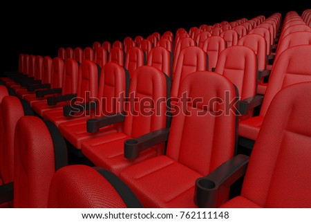 Rows of Red Cinema Movie Theater Comfortable Chairs on a black background. 3d Rendering