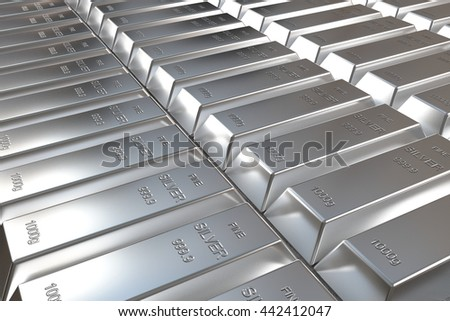 rows of rendered silver bars in perspective view, 3d rendering