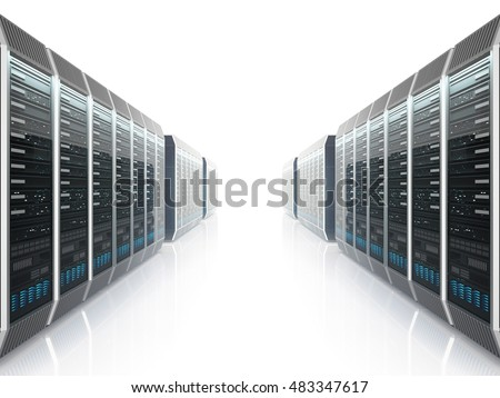 Rows of servers in data center with bright backlight on white background. 3D illustration.