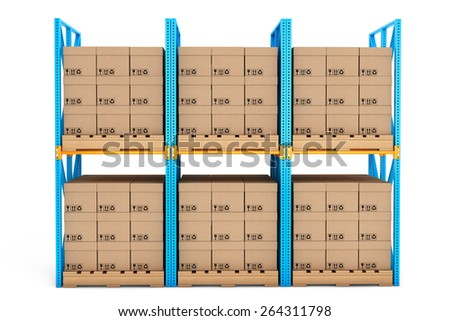 Rows of shelves with boxes on a white background - stock photo