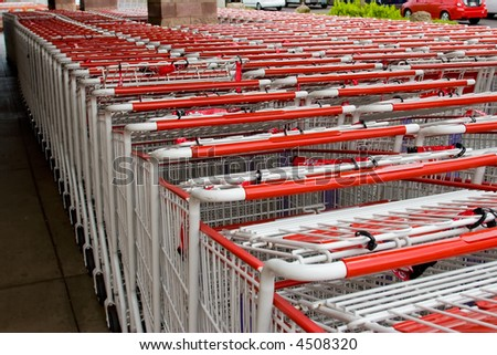 Rows of shopping carts outside waiting to be used