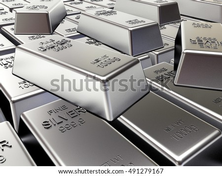Rows of silver bars. Business and financial background. 3D illustration