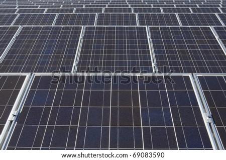 Rows of solar panels - stock photo
