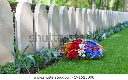 Rows of tombstones, old graves from World War II - stock photo