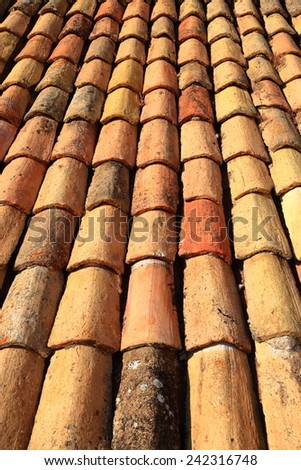 Rows of traditional ceramic tiles on a roof in Dubrovnik, Croatia - stock photo