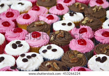Rows of vanilla, chocolate and strawberry cupcakes. Shallow depth of field.