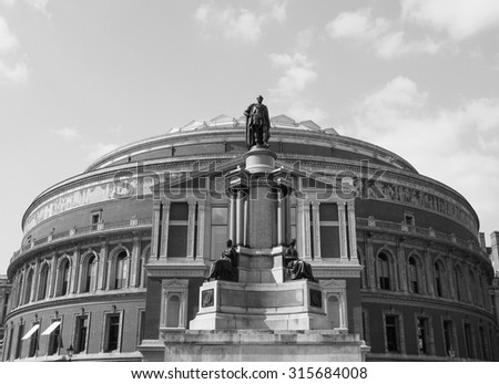 Royal Albert Hall concert room in London, UK in black and white