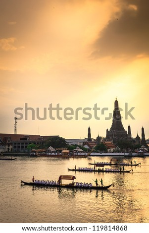 Royal Barge Procession in sunset ,Thailand - stock photo