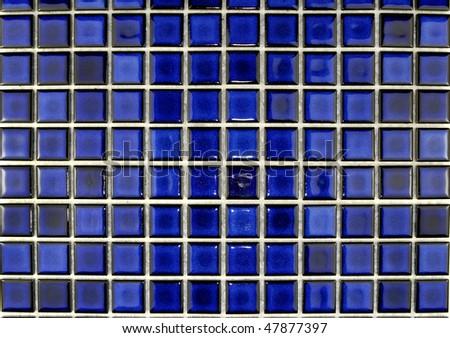 royal blue ceramic  mosaic tiles - stock photo