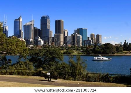 Royal Botanic Garden with Sydney skyline  - stock photo